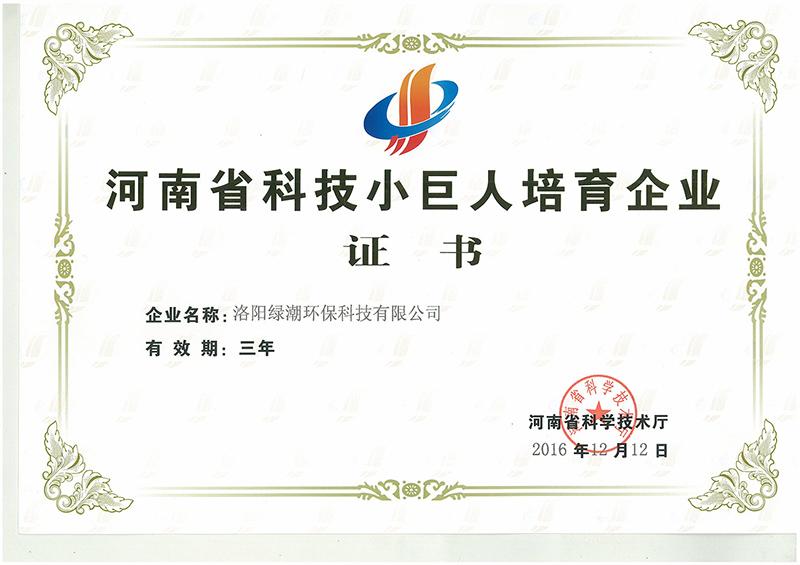 河南科技小巨人培育企业证书